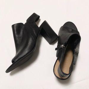 Franco Sarto Black Peep Toe Booties